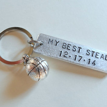 Anniversary Keychain, Basketball Keychain, Couples Keychain Gift, Customized Keychain, Personalized, Husband Wife, Boyfriend Girlfriend, GPS