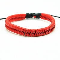 Red Real Leather Woven Bracelet Cuff  Women's Leather Bangle Bracelet Men' Leather Bracelet Friendship Gift  FRZ0223