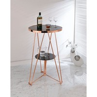 Astonishing Bar Table, Black Glass & Rose Gold By ACME