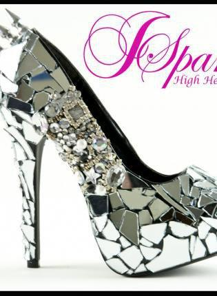 Black Pumps / High Heels - MIRROR GLASS Cinderella CUSTOM HIGH | UsTrendy