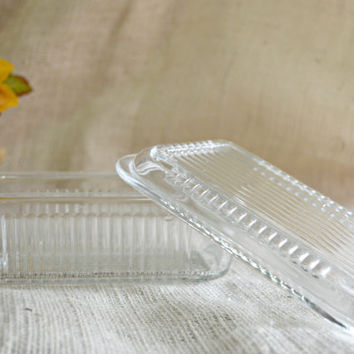 Mid Century Glass Storage Dish - Vintage Serving Dish, Holiday Leftovers, Food Storage, Clear Glass Refrigerator Ware, Leftover Container