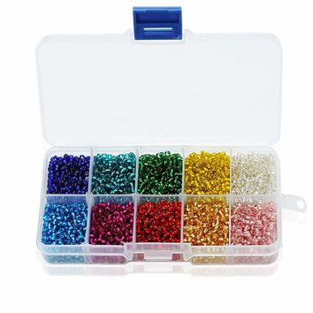 (1 box set) 10 Colors Mixed 3MM Silver Lined Czech Glass Seed Spacer Beads
