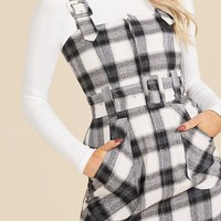 Checked Buckle Detail Pinafore Dress | Boohoo