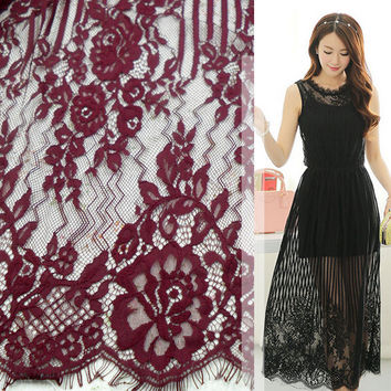 Dyeable lace fabric Wine red Green Khaki Navy blue Beige dyed eyelash french lace High quality women long dress lace 150*150CM