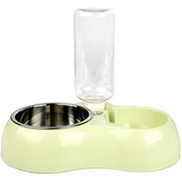 Idepet Dog Stainless Steel Bowls and Water Feeder,Double Pet bowl,Removable Puppy Dish with No Spill and Non-Skid,Gravity Automatic Water Bottle Set for Small Medium Large Dogs