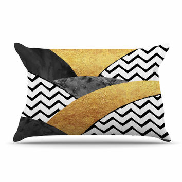"Zara Martina Mansen ""Chevron Hills"" Gold Black White Pillow Sham"