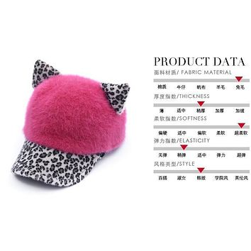 2017 New Korean super cute girl peaked cap Fashion autumn and winter Orecchiette rabbit fur hat