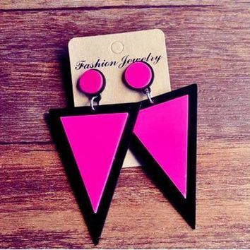 New fashion design big exaggerated rose red long triangle drop earring punk style rock party queen geometric earrings brincos