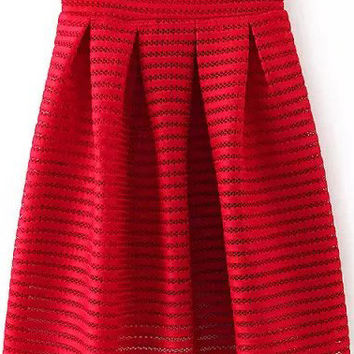 Red Striped Cutout A-Line Mini Skater Skirt