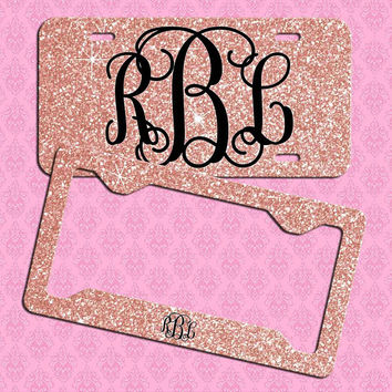 Rose Gold Glitter License Plate Car Tag, Personalized License Plate Frame, Monogram Car Coasters, NOT REAL GLITTER