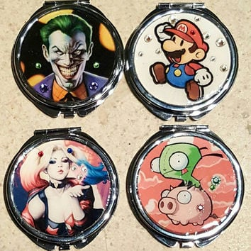 Comic/TV/ Video Game Compact Double Mirror - Gir, Harley Quinn, The Joker, Mario
