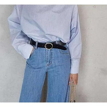 Vintage Big Round Metal Circle Buckle Women's PU Belt
