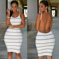 White Striped Open Back Bodycon Dress - White/Blue