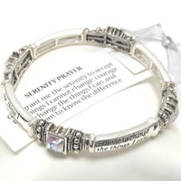 Inspirational 'Serenity Prayer' Crystal Message Engraved Stretch Bracelet