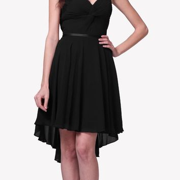 Short Twisted Bodice Chiffon Black Bridesmaid Dress Strapless