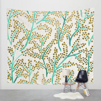 Green & Gold Branches Wall Tapestry by Cat Coquillette