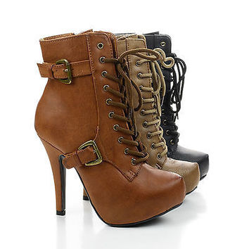 Sherry8 Nude Pu By Blossom, Lace Up Hidden Platform Stiletto Heel Ankle Bootie