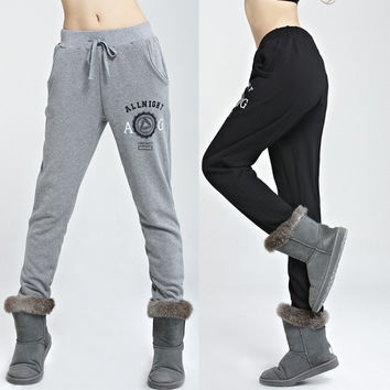 Sweatshirt trousers velvet thickening plus velvet plus size sports pants casual pants guardian female winter = 1920311428