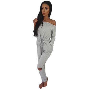 Women Jumpsuit 2017 Summer Elegant Off Shoulder Spandex Catsuit Casual Bodysuit Elastic Waist Cutout Long Sleeve Playsuit Romper
