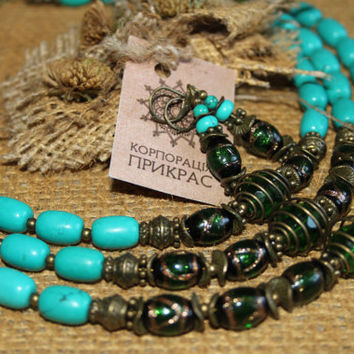 Bohemian turquoise jewelry. Beaded turquoise necklace and earrings. Venetian Glass necklace. Ethnic  turquoise necklace. Design turquoise