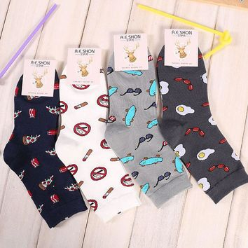 US 7-9 Fashion Cool Men's Socks Pizza No Somking Cartoon Printed Hip hop Novelty Socks Cotton Socks