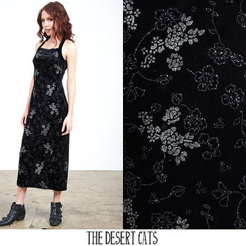 vintage 90s dress vintage 1990s black velvet dress with silver glitter floral print throughout vintage 90s grunge dress 90s party dress