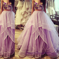 Amazing lavender strapless two pieces sweetheart A-line prom dress
