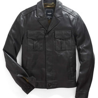 Two Pocket Leather Jacket in Black