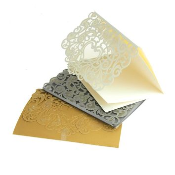 Paper Rectangular Laser-Cut Pearlescent Scroll Swirl Invitations with Heart, 7-1/4-Inch, 8 count