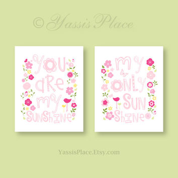 You Are My Sunshine, Pink Nursery Decor, Children's art prints, Penelope Colors in yellow, pink, green flowers 8x10, 11 x 14 by YassisPlace