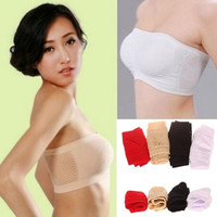 Lady Women's Sexy Strapless Top Vest Breathable Sports Bras Bandeau Boob Tube = 1932009668