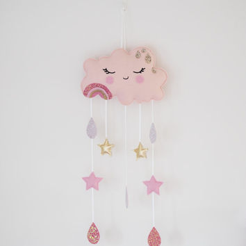 Pink Cloud Mobile, Pink and Gold Cloud, Cloud Nursery Theme, Pink and Gold Nursery, Baby Cloud Mobile, Pink Cloud Wall Hanging