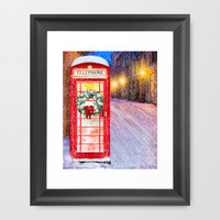 British Christmas In The Snow - Classic Red Telephone Box Framed Art Print by Mark E Tisdale