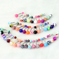 10Pieces Mix Color Stainless Acrylic Ball Barbell Bar Navel Belly Button Ring Jewelry