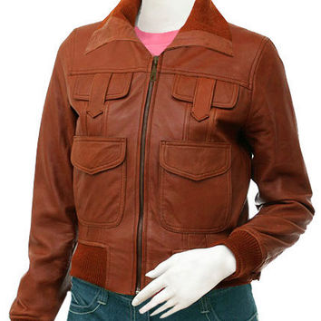 Cognac Field Leather Bomber Jacket
