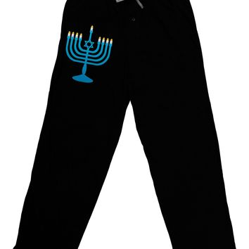 Hanukkah Menorah Adult Lounge Pants - Black