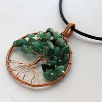 Malachite Tree of Life Copper pendant by AroundBeads on Etsy
