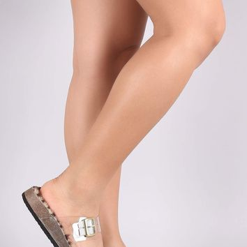 Buckled Double Band Faux Fur Lined Footbed Slide Sandal