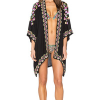 OndadeMar Embroidered Kimono in Black