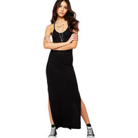 Black Spaghetti Straps Cutout Maxi Dress LAVELIQ