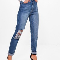Tall Helene Ripped Knee Mom Jean | Boohoo