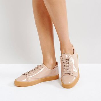 ASOS DARLEY Patent Clean Lace Up Trainers at asos.com