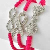 Breast Cancer Ribbon,Infinity,Bow Pink Bling Arm Candy Bracelets