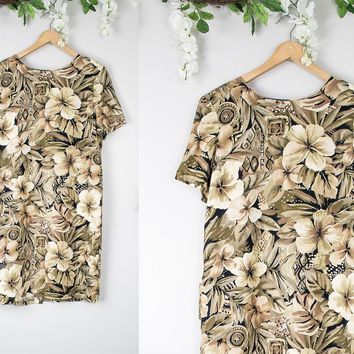 Vintage Neutral Floral Shift Dress