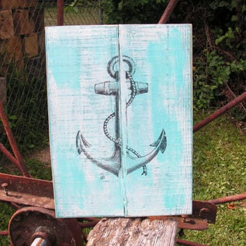 Beach themed Boat Anchor 10 x 14 custom wood sign Handmade in Van Buren MO