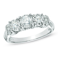 1/2 CT. T.W. Diamond Collar Past Present Future® Ring in 10K White Gold