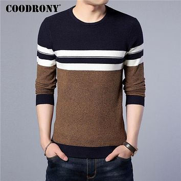 Cotton Sweater Men New Winter Warm Slim fit Pullover Men Wool Sweaters Casual Striped O-Neck Pull
