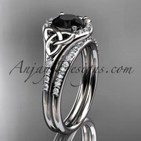 platinum diamond celtic trinity knot wedding ring, engagement set with a Black Diamond center stone CT7126S