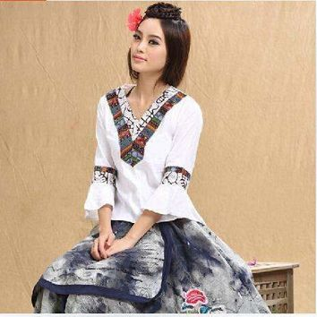 2018 Spring Summer Woman Shirt Vintage 70s Mexican Ethnic Flower Embroidery Shirt Plus Size Women Clothing,National Wind Tops