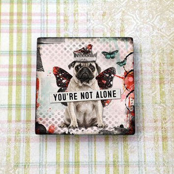"Pug Puppy Dog Cute Magnet Inspirational Message 2""x2"" Ceramic Tile Refrigerator Magnet, Fridge Magnet, Cubicle Decor, Dorm Decor,"